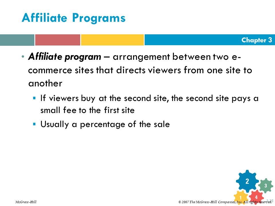 Chapter 3 3-28 Affiliate Programs Affiliate program – arrangement between two e- commerce sites that directs viewers from one site to another  If vie