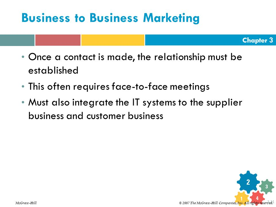 Chapter 3 3-31 Business to Business Marketing Once a contact is made, the relationship must be established This often requires face-to-face meetings M