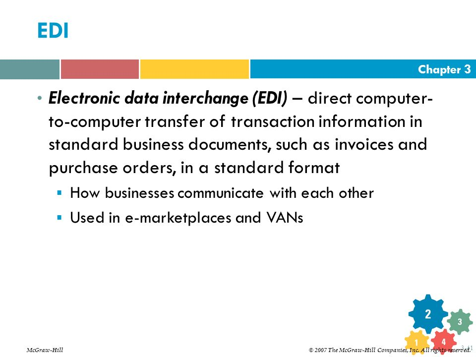 Chapter 3 3-41 EDI Electronic data interchange (EDI) – direct computer- to-computer transfer of transaction information in standard business documents