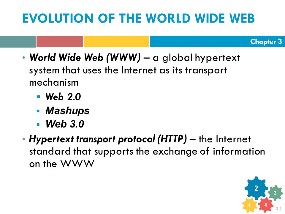 Chapter 3 3-5 EVOLUTION OF THE WORLD WIDE WEB World Wide Web (WWW) – a global hypertext system that uses the Internet as its transport mechanism  Web
