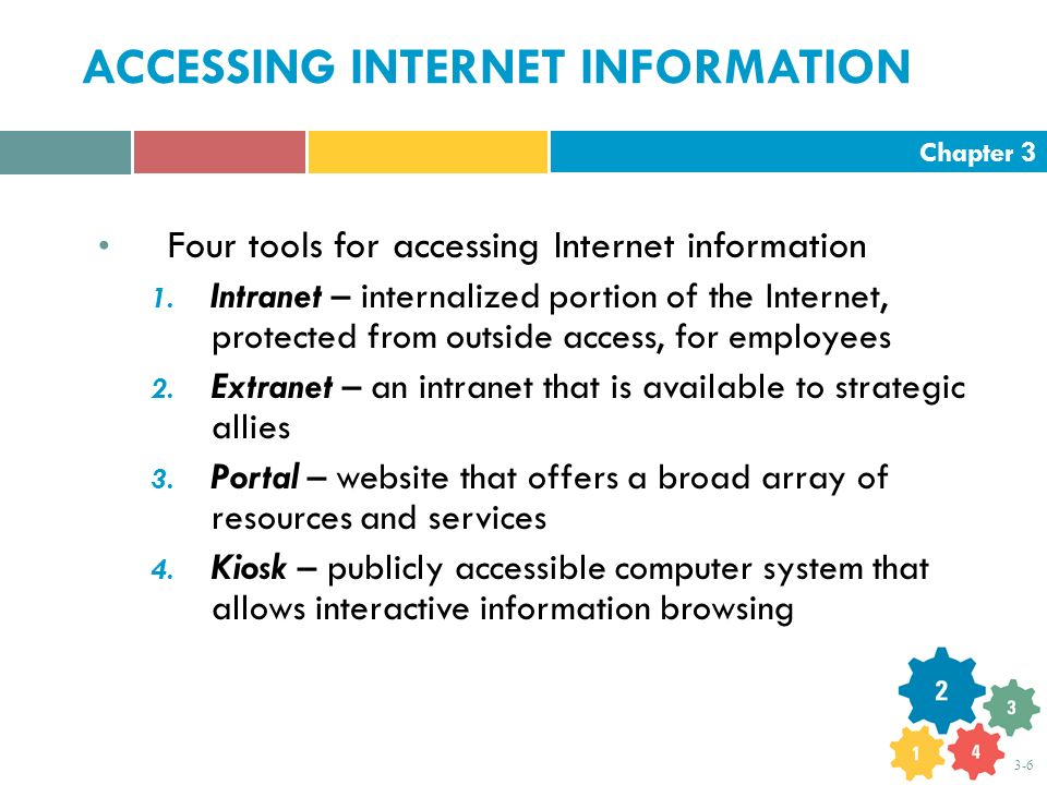 Chapter 3 3-6 ACCESSING INTERNET INFORMATION Four tools for accessing Internet information 1. Intranet – internalized portion of the Internet, protect