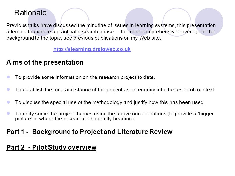 How do you discuss own pilot study in professional dissertation?