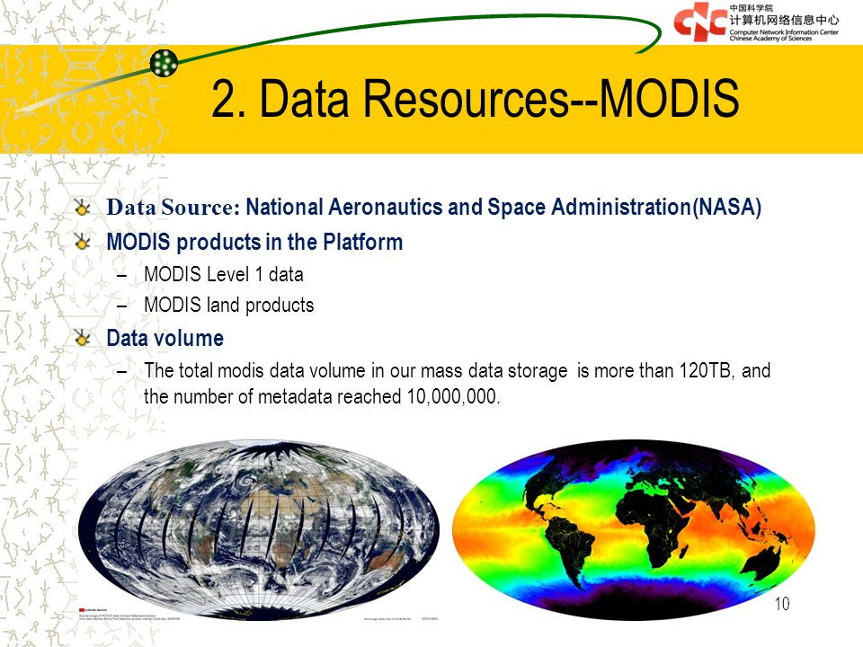Data Source: National Aeronautics and Space Administration(NASA) MODIS products in the Platform –MODIS Level 1 data –MODIS land products Data volume –The total modis data volume in our mass data storage is more than 120TB, and the number of metadata reached 10,000,000.