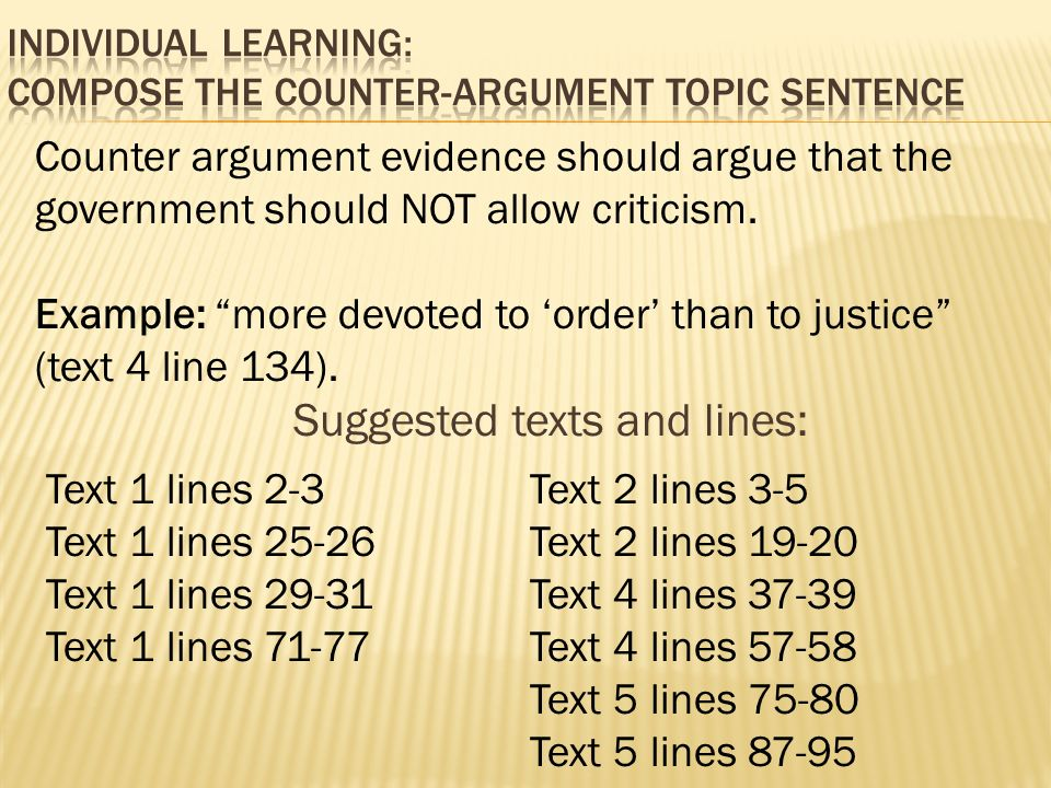 YESTERDAY Understand or paraphrase the essay question – Counter Argument Example