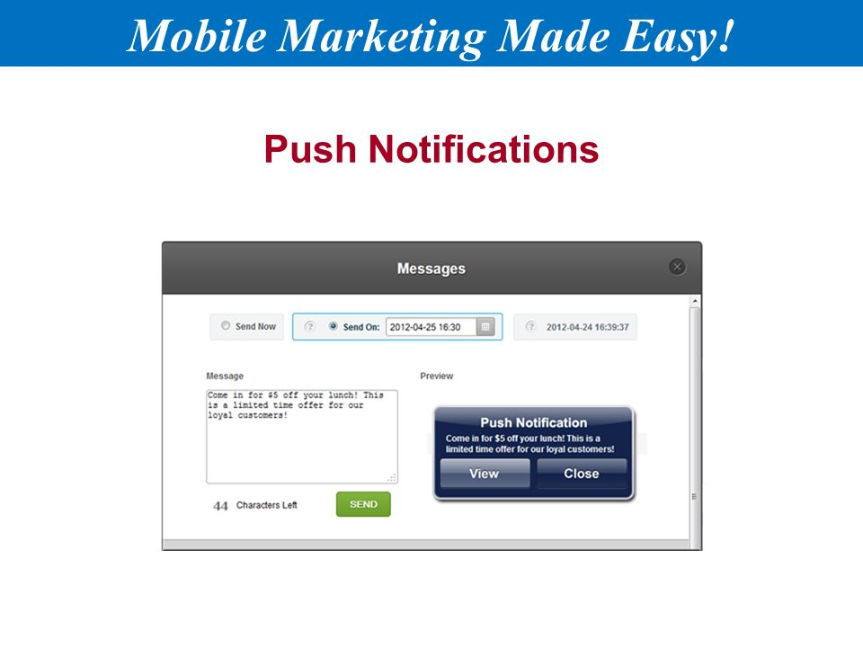 Push Notifications Mobile Marketing Made Easy!