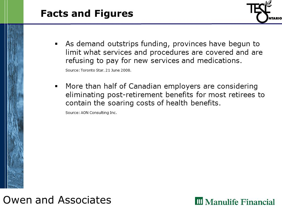 Owen and Associates Facts and Figures  As demand outstrips funding, provinces have begun to limit what services and procedures are covered and are refusing to pay for new services and medications.