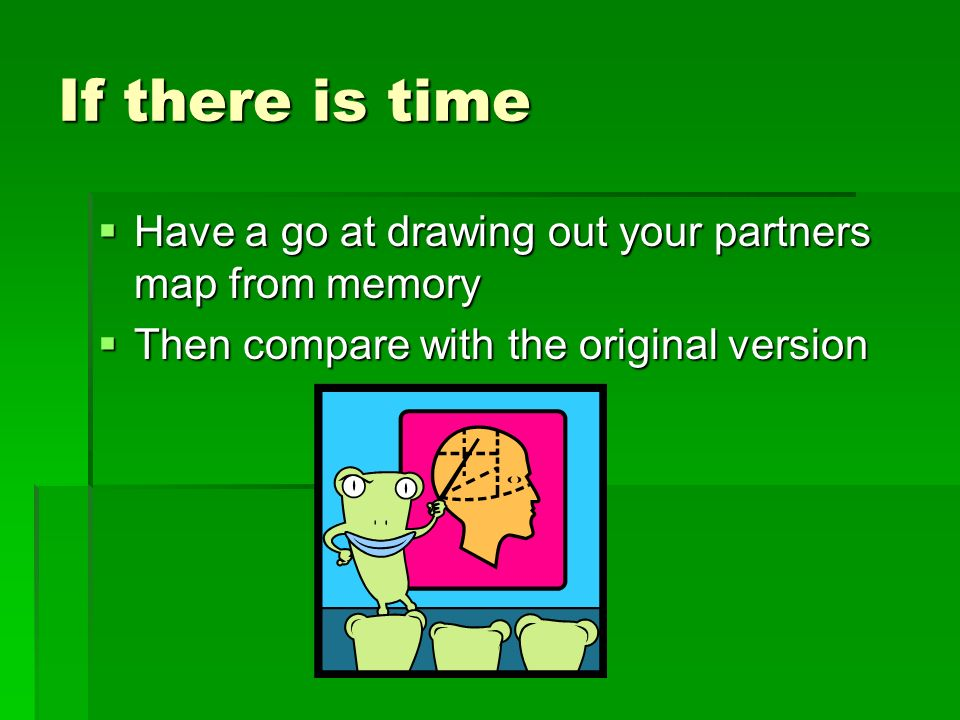If there is time  Have a go at drawing out your partners map from memory  Then compare with the original version