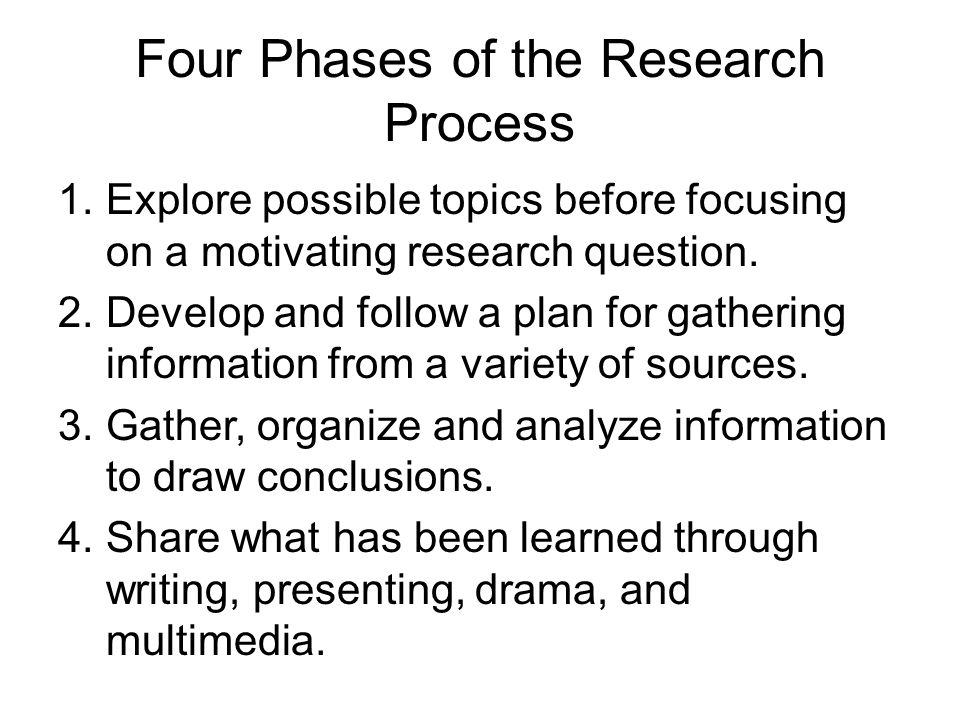 Four Phases of the Research Process 1.Explore possible topics before focusing on a motivating research question.