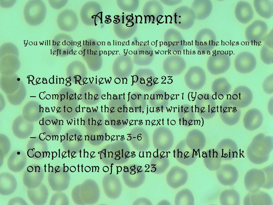 Assignment: Reading Review on Page 23 – Complete the chart for number 1 (You do not have to draw the chart, just write the letters down with the answe