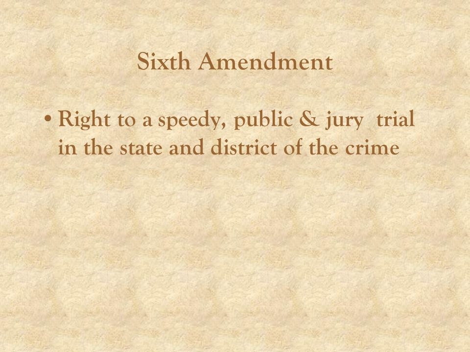 Right to a speedy, public & jury trial in the state and district of the crime
