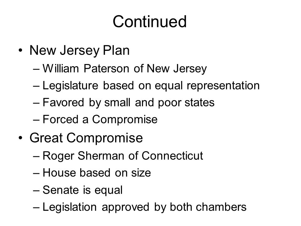Continued New Jersey Plan –William Paterson of New Jersey –Legislature based on equal representation –Favored by small and poor states –Forced a Compromise Great Compromise –Roger Sherman of Connecticut –House based on size –Senate is equal –Legislation approved by both chambers