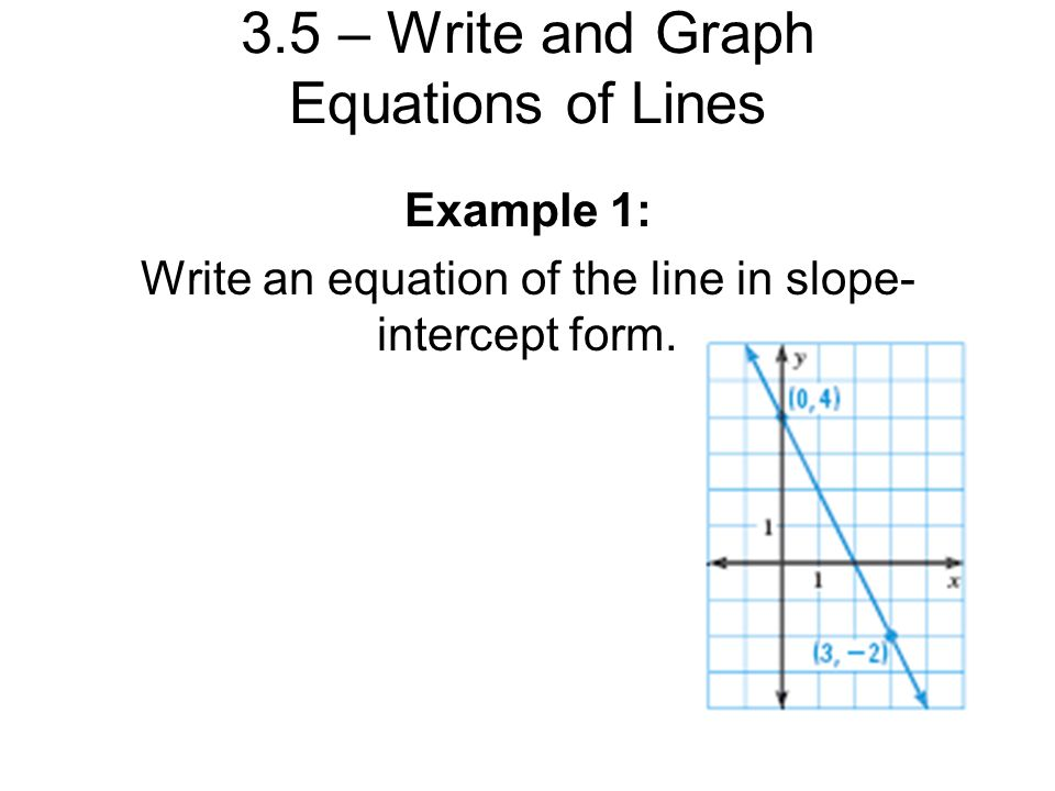 3.5 – Write and Graph Equations of Lines Linear equations may be ...