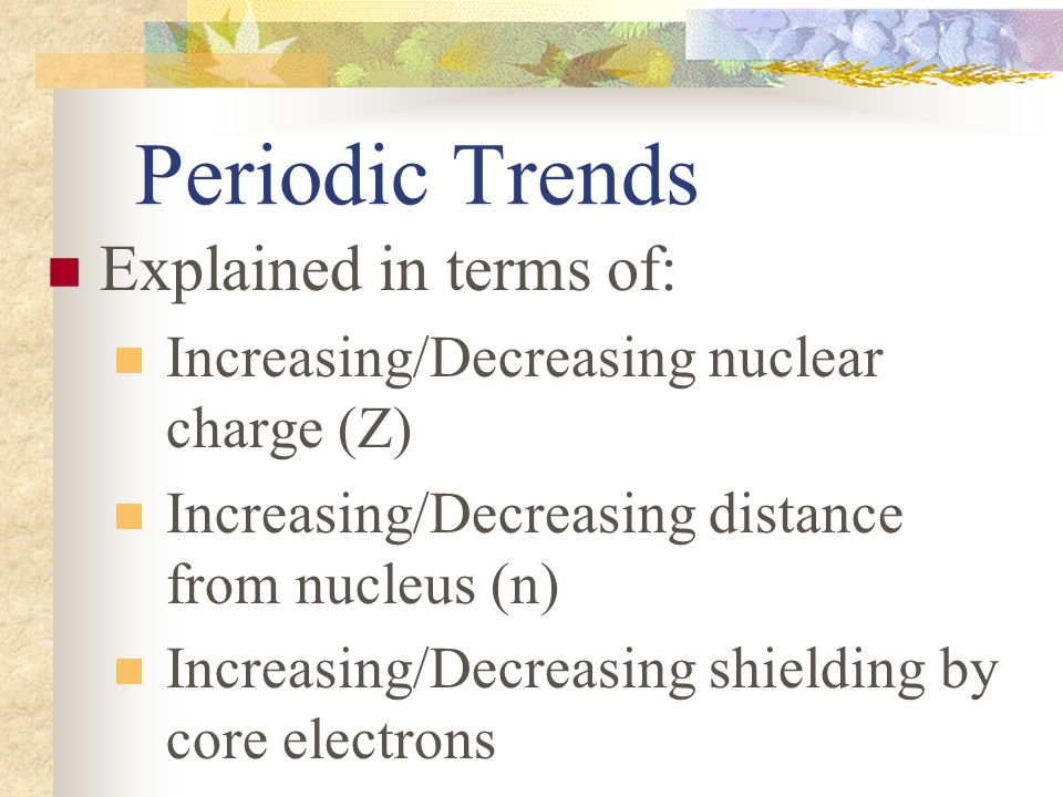 Periodic table and periodic trends test 2 material along with 4 periodic trends explained in terms of increasingdecreasing nuclear charge z increasingdecreasing distance from nucleus n increasingdecreasing urtaz Choice Image