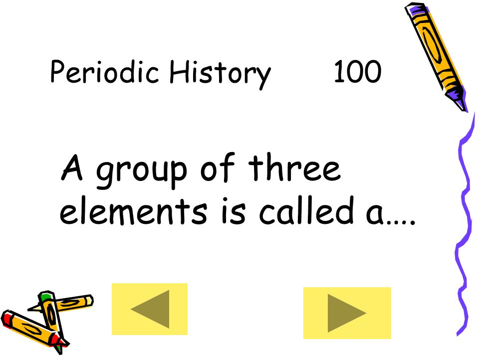 Welcome to jeopardy round 1 periodic history table basics whats my 3 periodic history 100 a group of three elements is called a urtaz Image collections
