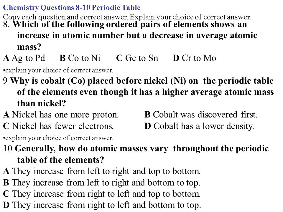 Chemistry questions 8 10 periodic table copy each question and chemistry questions 8 10 periodic table copy each question and correct answer urtaz Gallery