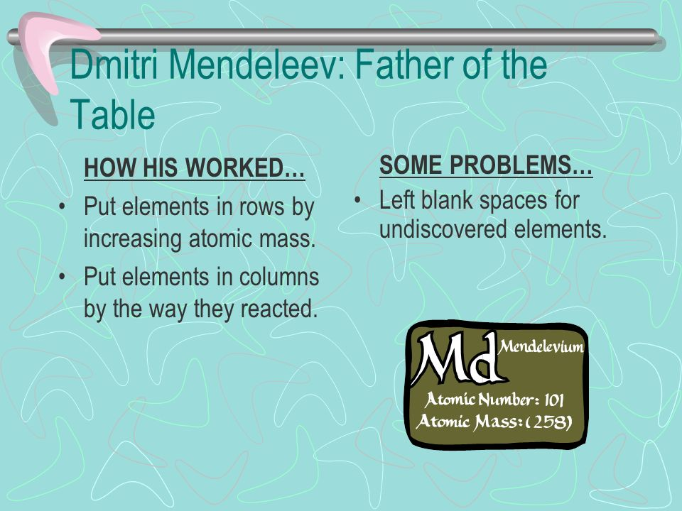 Dmitri Mendeleev: Father of the Table HOW HIS WORKED… Put elements in rows by increasing atomic mass.