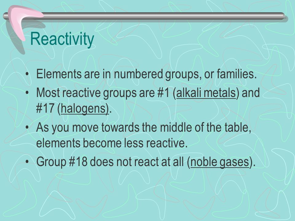 Reactivity Elements are in numbered groups, or families.