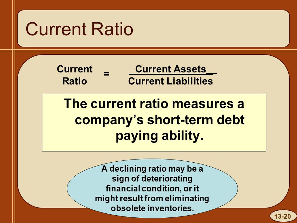 13-20 Current Ratio The current ratio measures a company's short-term debt paying ability.