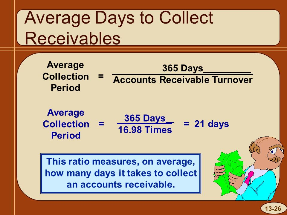 13-26 Average Days to Collect Receivables Average Collection Period = 365 Days Accounts Receivable Turnover This ratio measures, on average, how many days it takes to collect an accounts receivable.