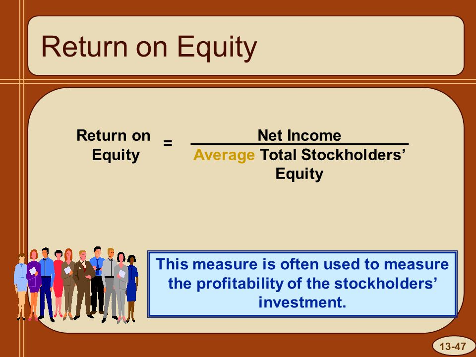 13-47 Return on Equity This measure is often used to measure the profitability of the stockholders' investment.