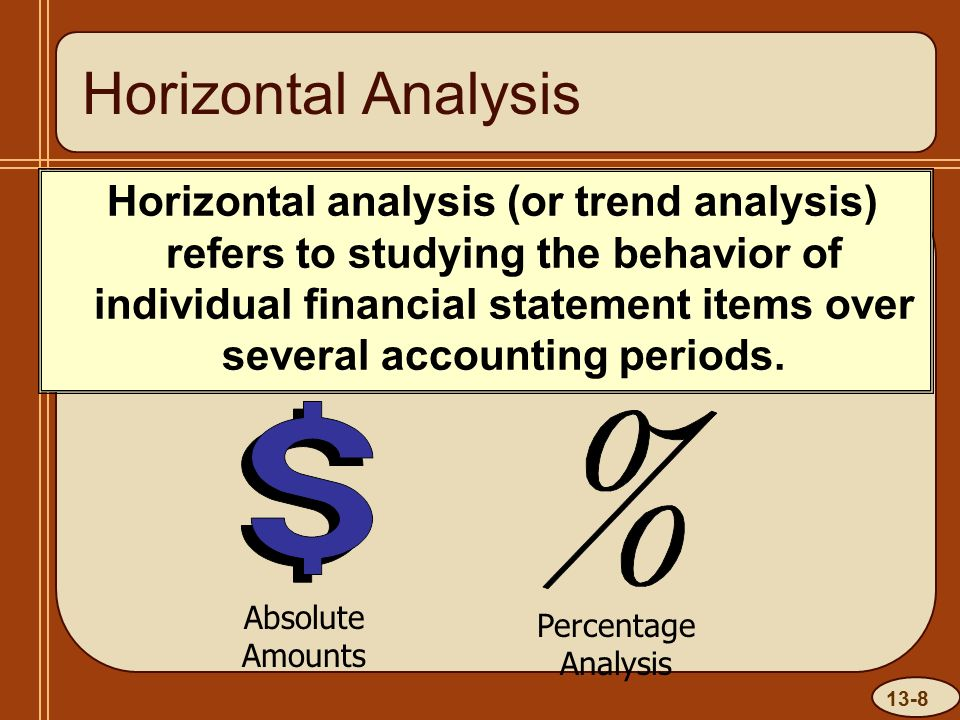 13-8 Horizontal Analysis Horizontal analysis (or trend analysis) refers to studying the behavior of individual financial statement items over several accounting periods.