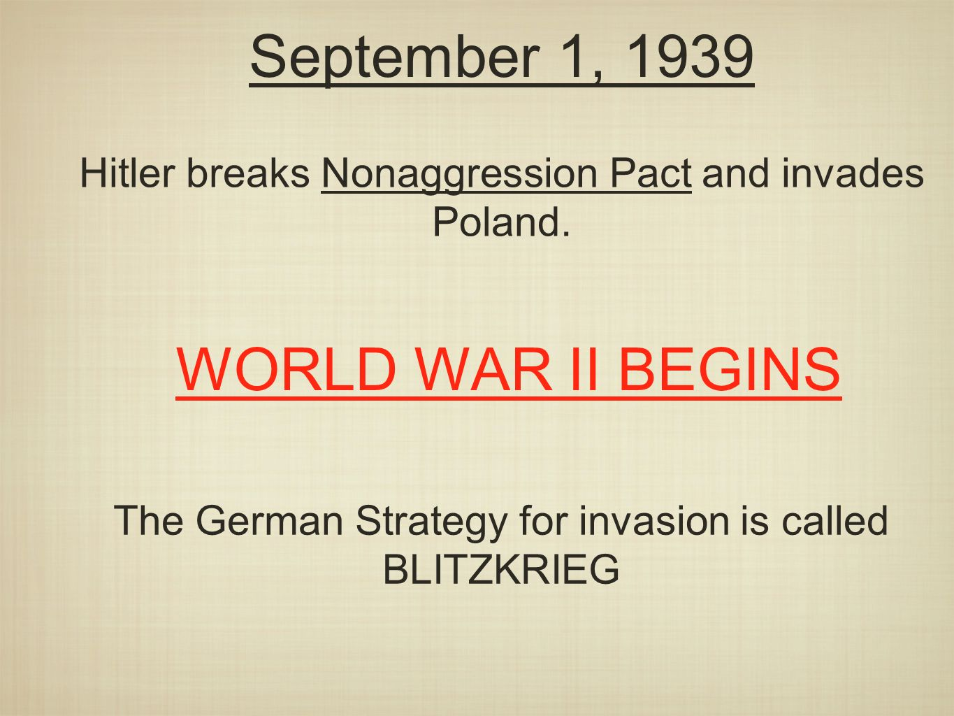 September 1, 1939 Hitler breaks Nonaggression Pact and invades Poland.