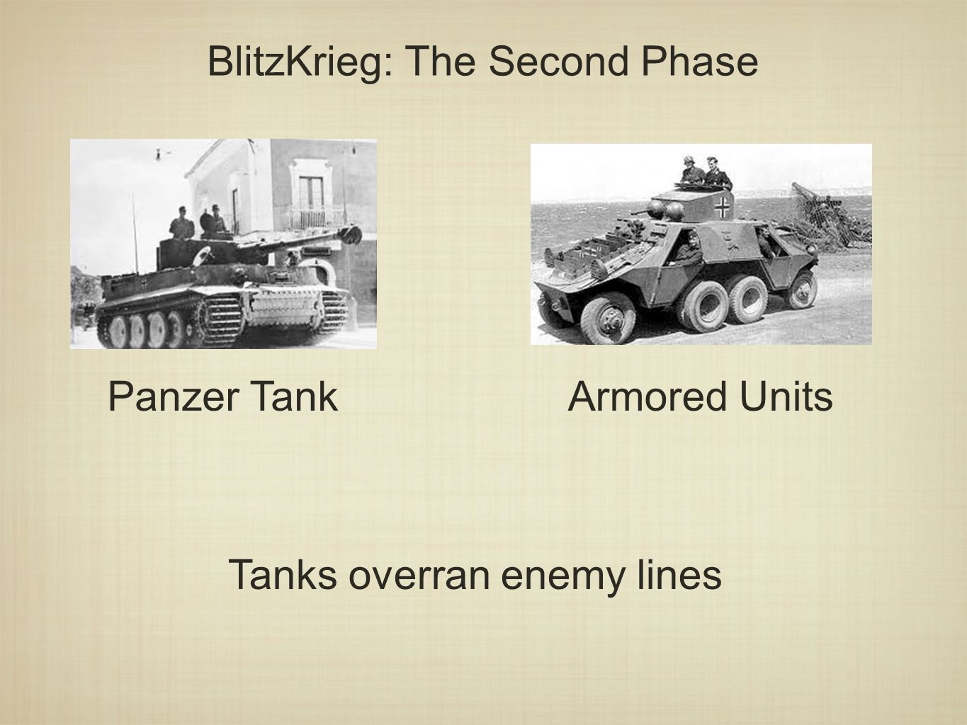 BlitzKrieg: The Second Phase Panzer TankArmored Units Tanks overran enemy lines