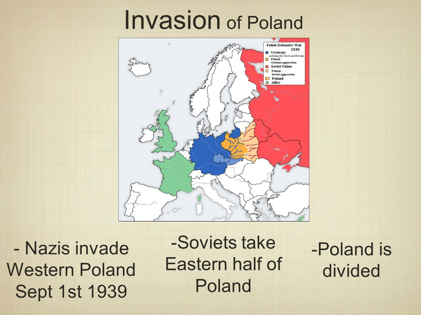 Invasion of Poland - Nazis invade Western Poland Sept 1st Soviets take Eastern half of Poland -Poland is divided