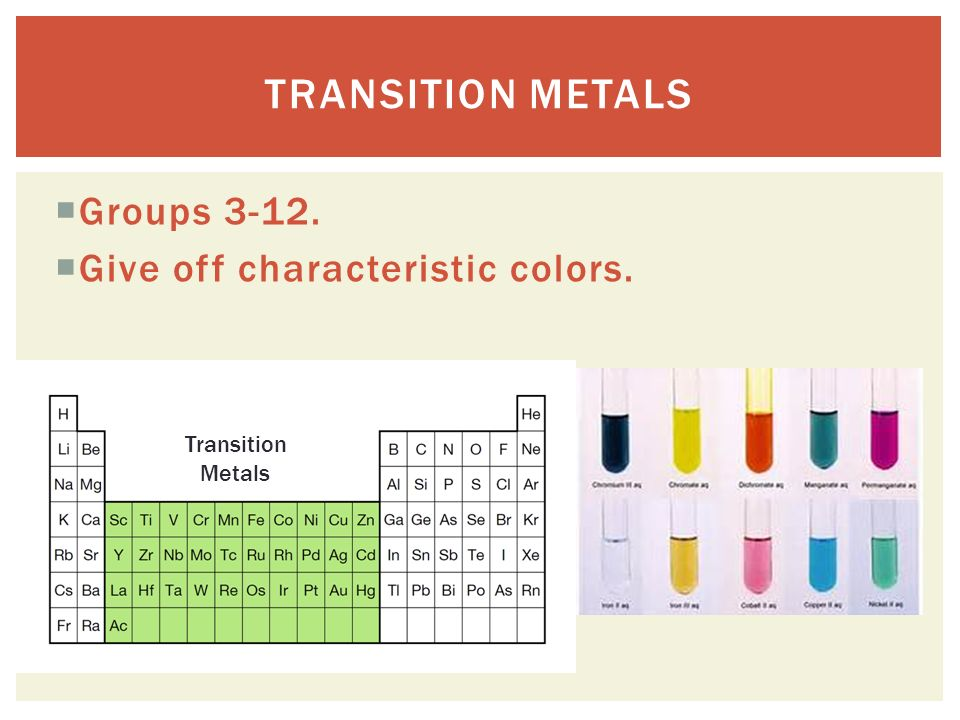  Groups  Give off characteristic colors. TRANSITION METALS Transition Metals