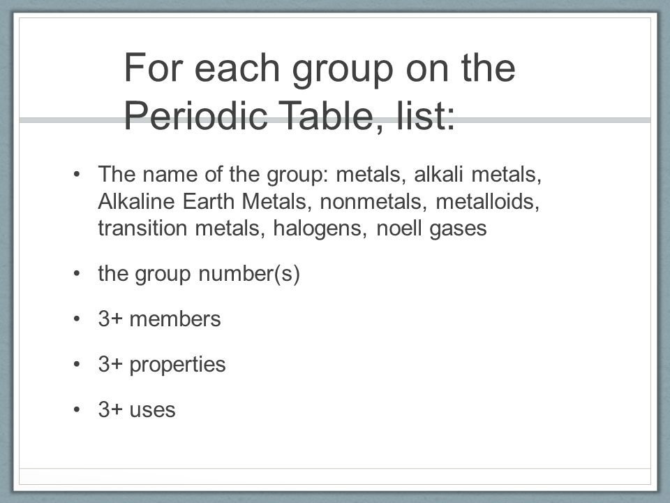 The periodic table for each group on the periodic table list the periodic table 2 for urtaz Choice Image