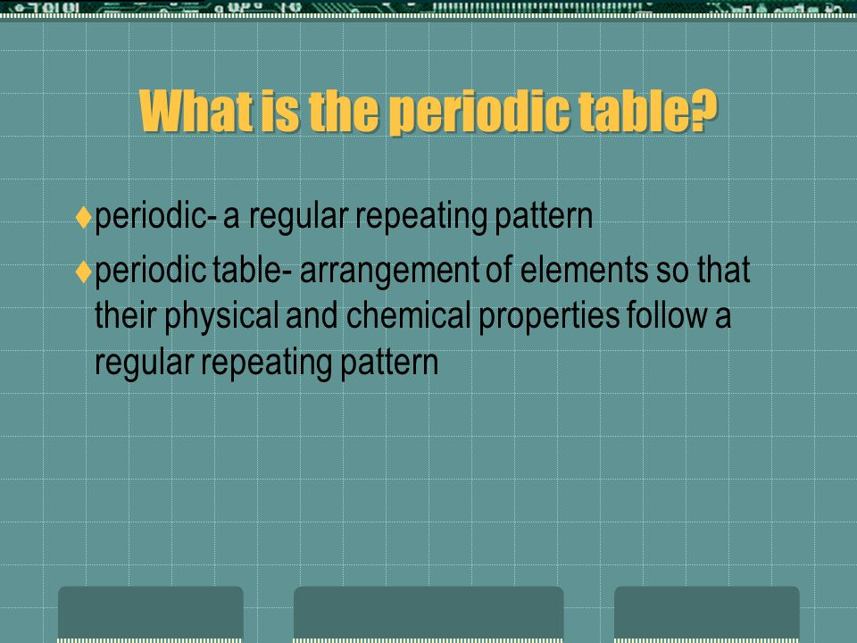 Periodic Table what is so on the periodic table : The periodic table chapter 4 & 11. What is the periodic table ...