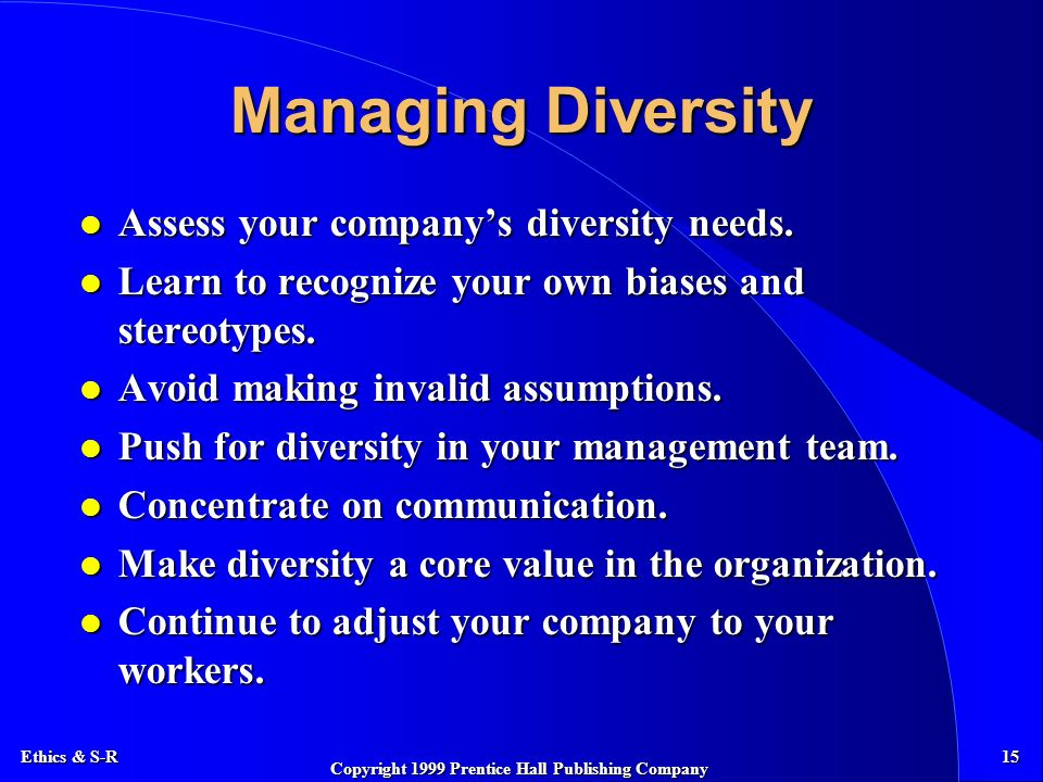 Ethics & S-R 15 Copyright 1999 Prentice Hall Publishing Company Managing Diversity l Assess your company's diversity needs.