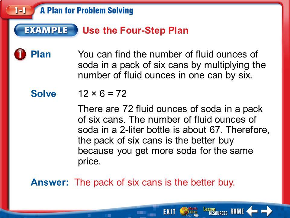Splash Screen Lesson Menu Five Minute Check Main Idea Example 1use