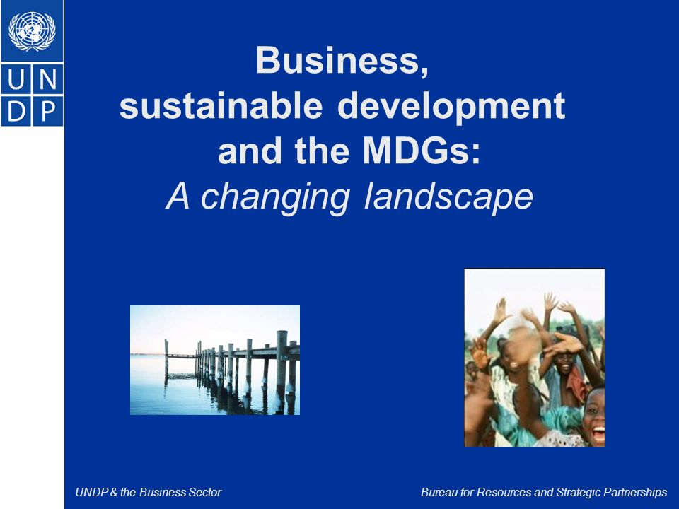 UNDP & the Business SectorBureau for Resources and Strategic Partnerships Business, sustainable development and the MDGs: A changing landscape