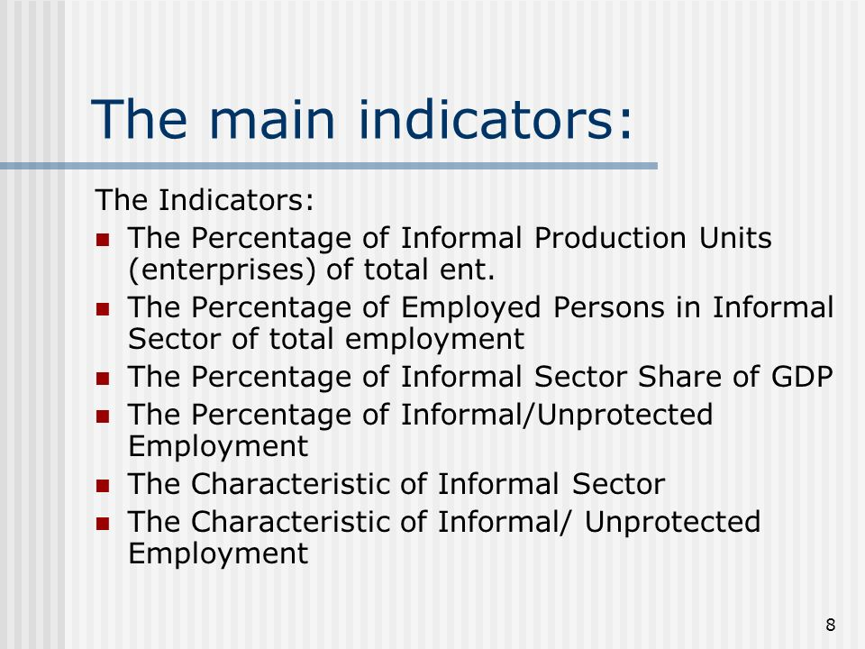 8 The main indicators: The Indicators: The Percentage of Informal Production Units (enterprises) of total ent.