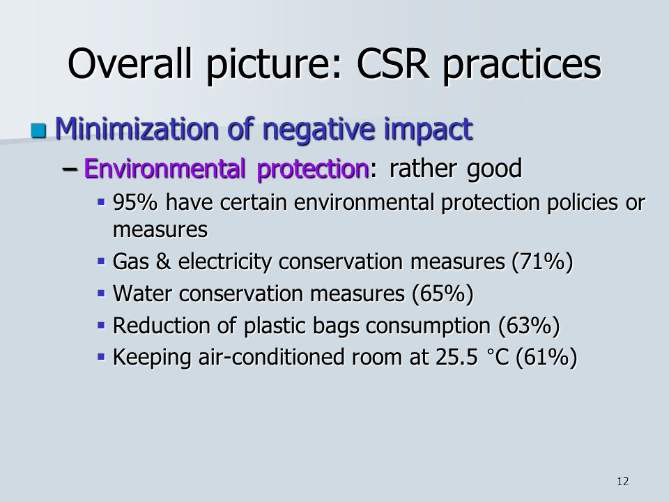 12 Overall picture: CSR practices Minimization of negative impact Minimization of negative impact –Environmental protection: rather good  95% have certain environmental protection policies or measures  Gas & electricity conservation measures (71%)  Water conservation measures (65%)  Reduction of plastic bags consumption (63%)  Keeping air-conditioned room at 25.5 °C (61%)