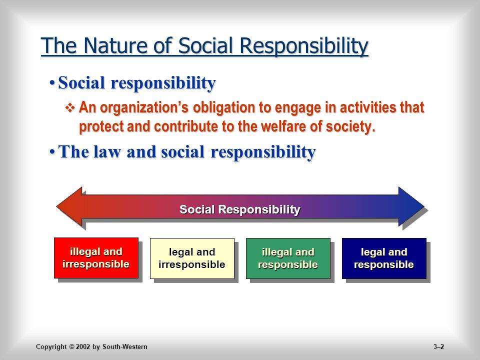 Copyright © 2002 by South-Western 3–2 The Nature of Social Responsibility Social responsibilitySocial responsibility  An organization's obligation to engage in activities that protect and contribute to the welfare of society.
