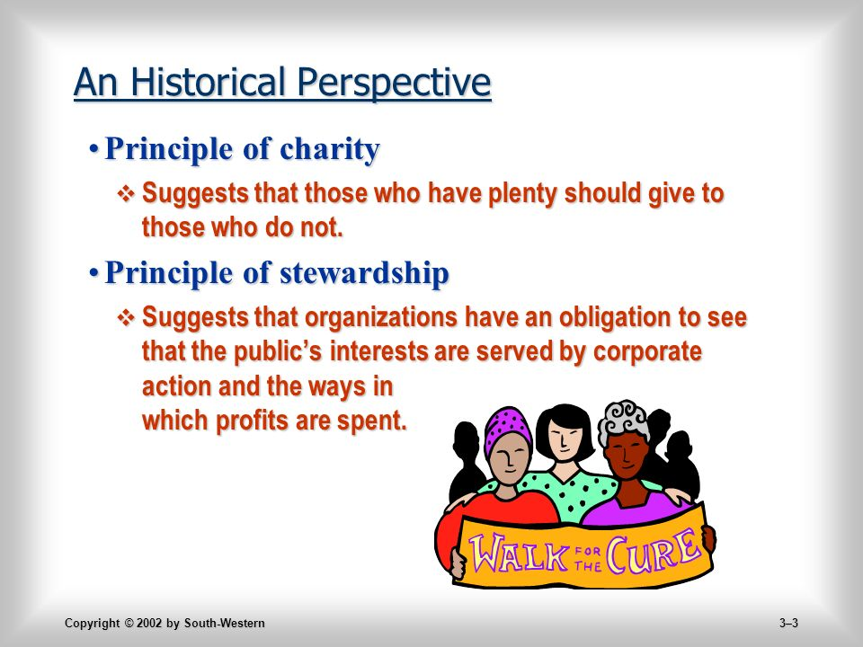 Copyright © 2002 by South-Western 3–3 An Historical Perspective Principle of charityPrinciple of charity  Suggests that those who have plenty should give to those who do not.