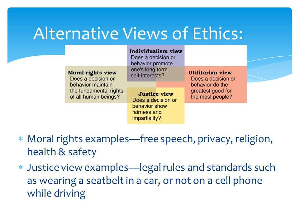 Alternative Views of Ethics:  Moral rights examples—free speech, privacy, religion, health & safety  Justice view examples—legal rules and standards such as wearing a seatbelt in a car, or not on a cell phone while driving