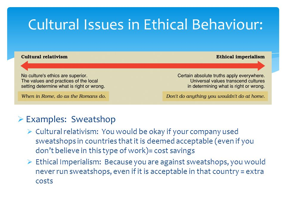 Cultural Issues in Ethical Behaviour:  Examples: Sweatshop  Cultural relativism: You would be okay if your company used sweatshops in countries that it is deemed acceptable (even if you don't believe in this type of work)= cost savings  Ethical Imperialism: Because you are against sweatshops, you would never run sweatshops, even if it is acceptable in that country = extra costs