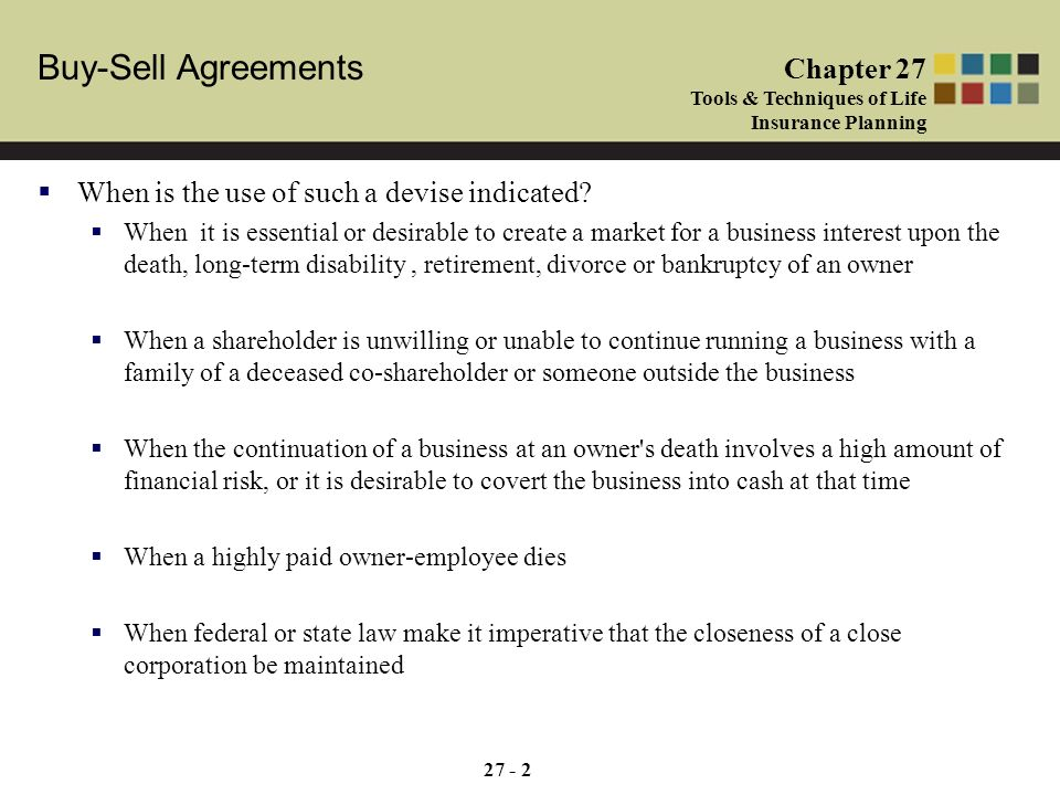 Buy sell agreements chapter 27 tools techniques of life insurance 2 buy sell platinumwayz