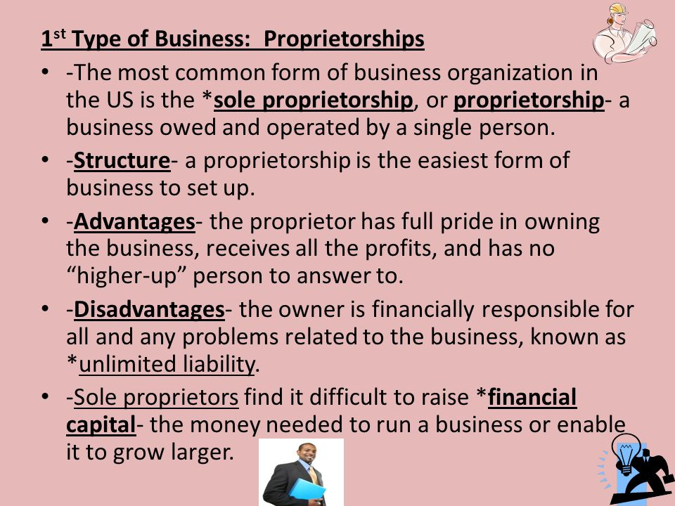 Business and Labor Chapter st Type of Business: Proprietorships ...