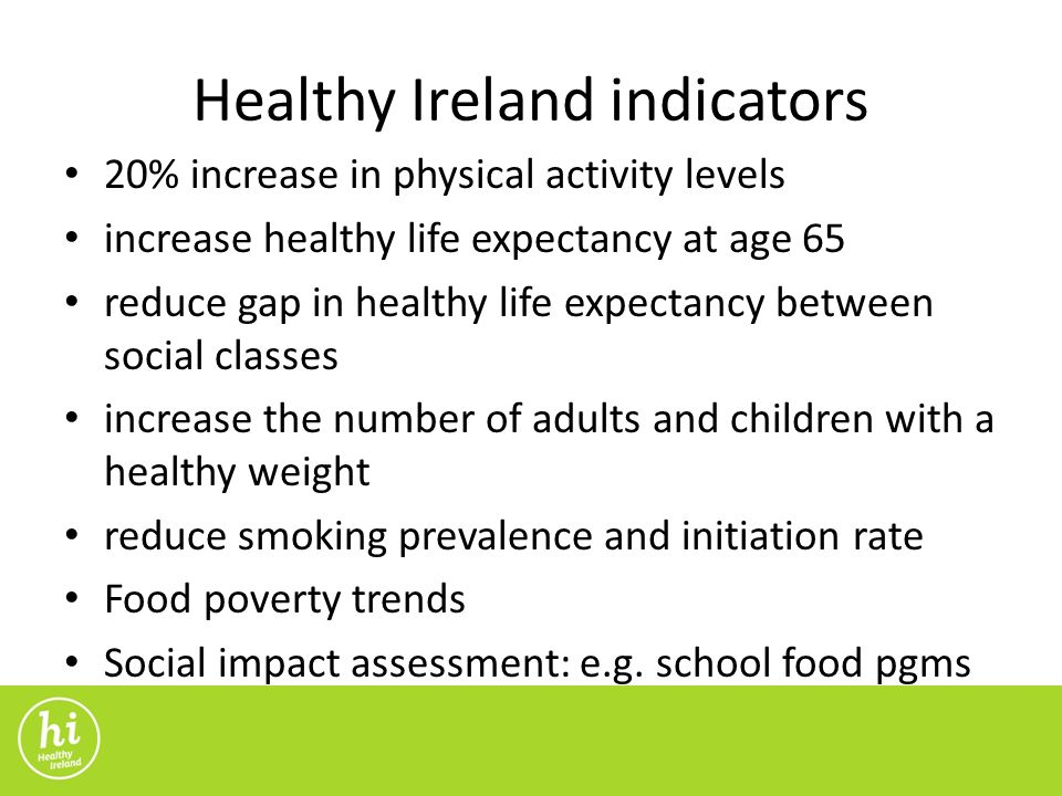 Healthy Ireland indicators 20% increase in physical activity levels increase healthy life expectancy at age 65 reduce gap in healthy life expectancy between social classes increase the number of adults and children with a healthy weight reduce smoking prevalence and initiation rate Food poverty trends Social impact assessment: e.g.