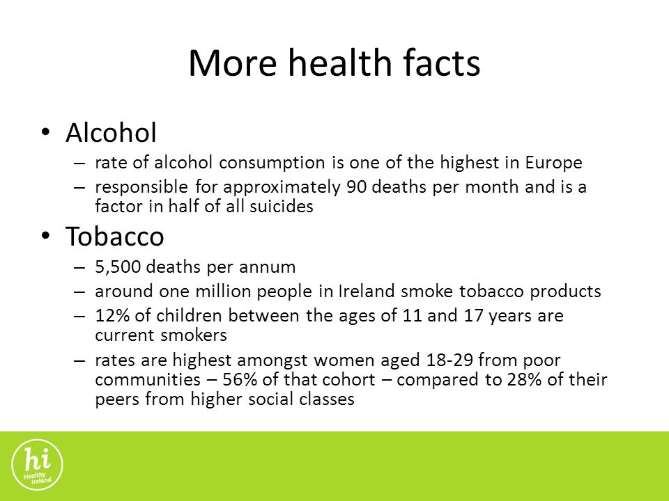 More health facts Alcohol – rate of alcohol consumption is one of the highest in Europe – responsible for approximately 90 deaths per month and is a factor in half of all suicides Tobacco – 5,500 deaths per annum – around one million people in Ireland smoke tobacco products – 12% of children between the ages of 11 and 17 years are current smokers – rates are highest amongst women aged from poor communities – 56% of that cohort – compared to 28% of their peers from higher social classes