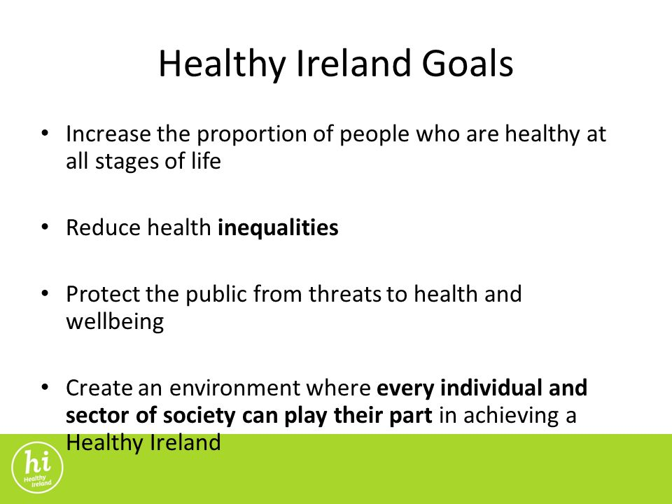 Healthy Ireland Goals Increase the proportion of people who are healthy at all stages of life Reduce health inequalities Protect the public from threats to health and wellbeing Create an environment where every individual and sector of society can play their part in achieving a Healthy Ireland