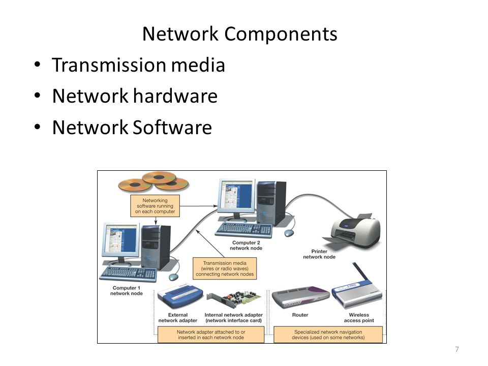 7 Network Components Transmission media Network hardware Network Software