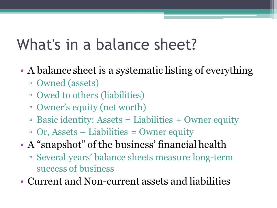 A balance sheet is a systematic listing of everything ▫Owned (assets) ▫Owed to others (liabilities) ▫Owner's equity (net worth) ▫Basic identity: Assets = Liabilities + Owner equity ▫Or, Assets – Liabilities = Owner equity A snapshot of the business' financial health ▫Several years' balance sheets measure long-term success of business Current and Non-current assets and liabilities What s in a balance sheet