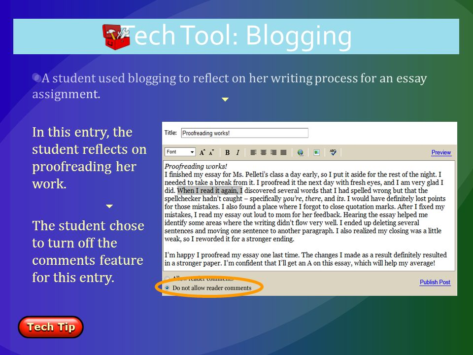 In this entry, the student reflects on proofreading her work.