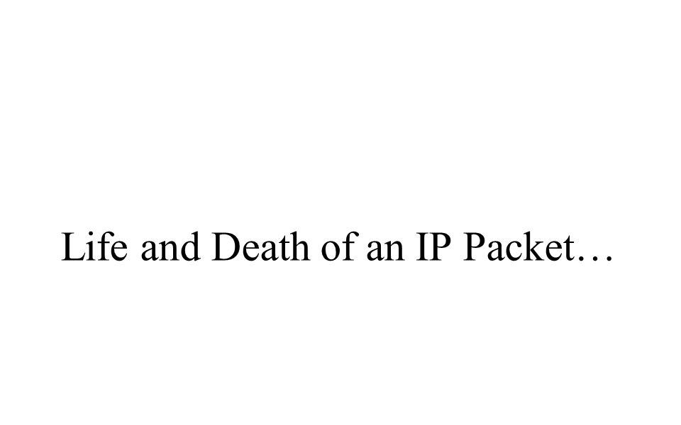 Life and Death of an IP Packet…