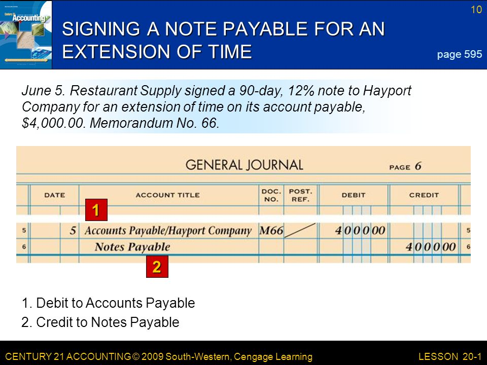 CENTURY 21 ACCOUNTING © 2009 South-Western, Cengage Learning 10 LESSON 20-1 SIGNING A NOTE PAYABLE FOR AN EXTENSION OF TIME 1 2 page 595 June 5.